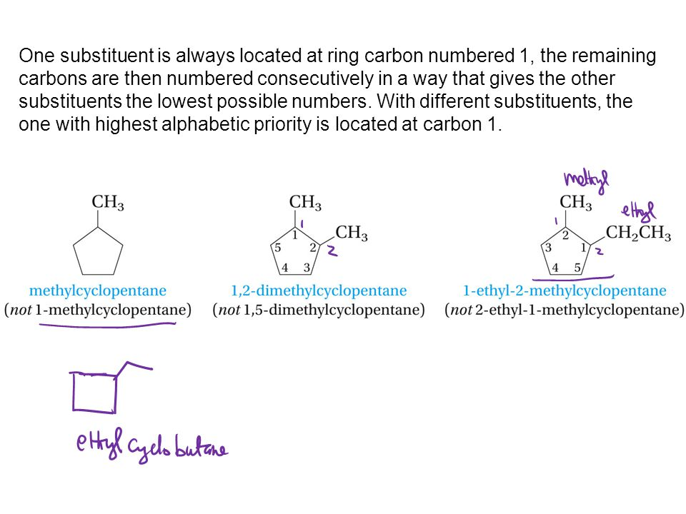 One substituent is always located at ring carbon numbered 1, the remaining carbons are then numbered consecutively in a way that gives the other subst