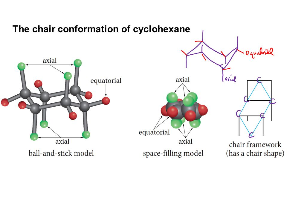 The chair conformation of cyclohexane