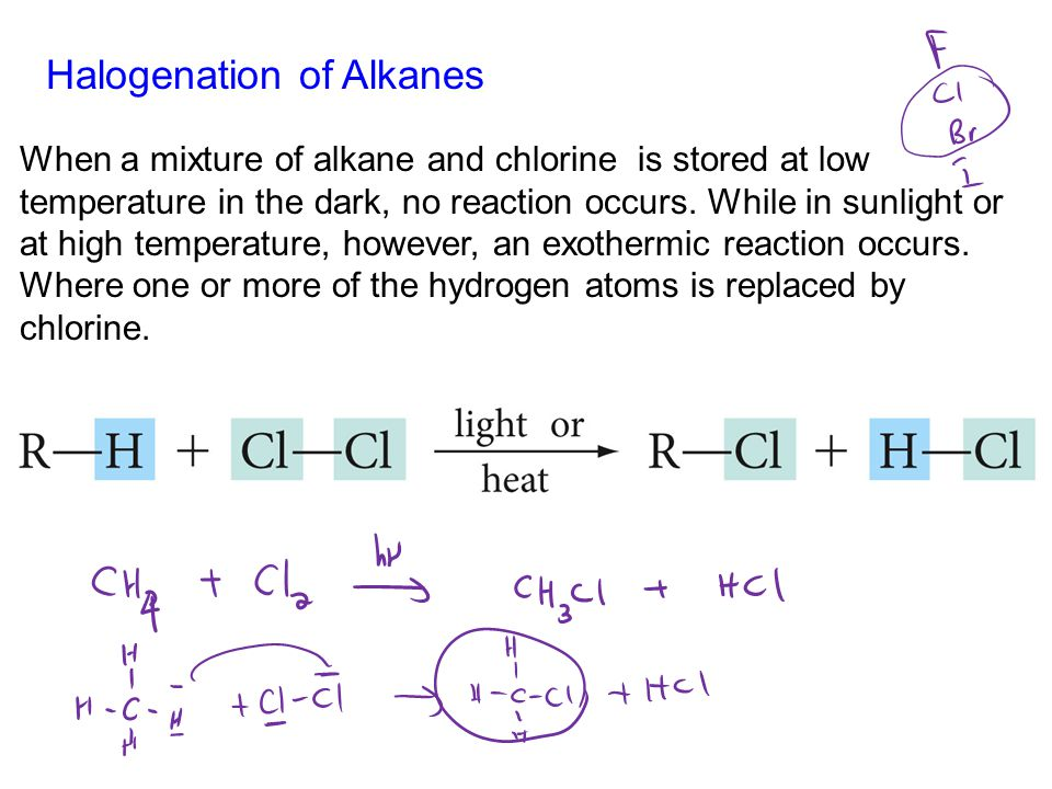 Halogenation of Alkanes When a mixture of alkane and chlorine is stored at low temperature in the dark, no reaction occurs. While in sunlight or at hi