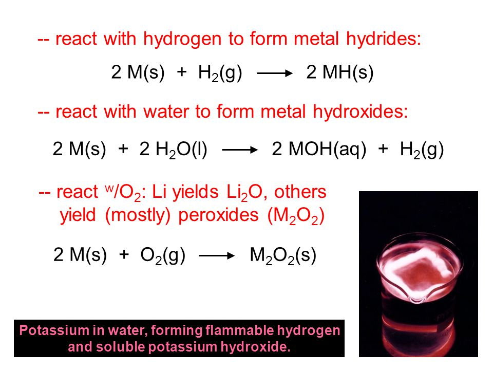 -- react with hydrogen to form metal hydrides: -- react with water to form metal hydroxides: -- react w /O 2 : Li yields Li 2 O, others yield (mostly) peroxides (M 2 O 2 ) 2 M(s) + H 2 (g) 2 MH(s) 2 M(s) + 2 H 2 O(l) 2 MOH(aq) + H 2 (g) 2 M(s) + O 2 (g) M 2 O 2 (s) Potassium in water, forming flammable hydrogen and soluble potassium hydroxide.