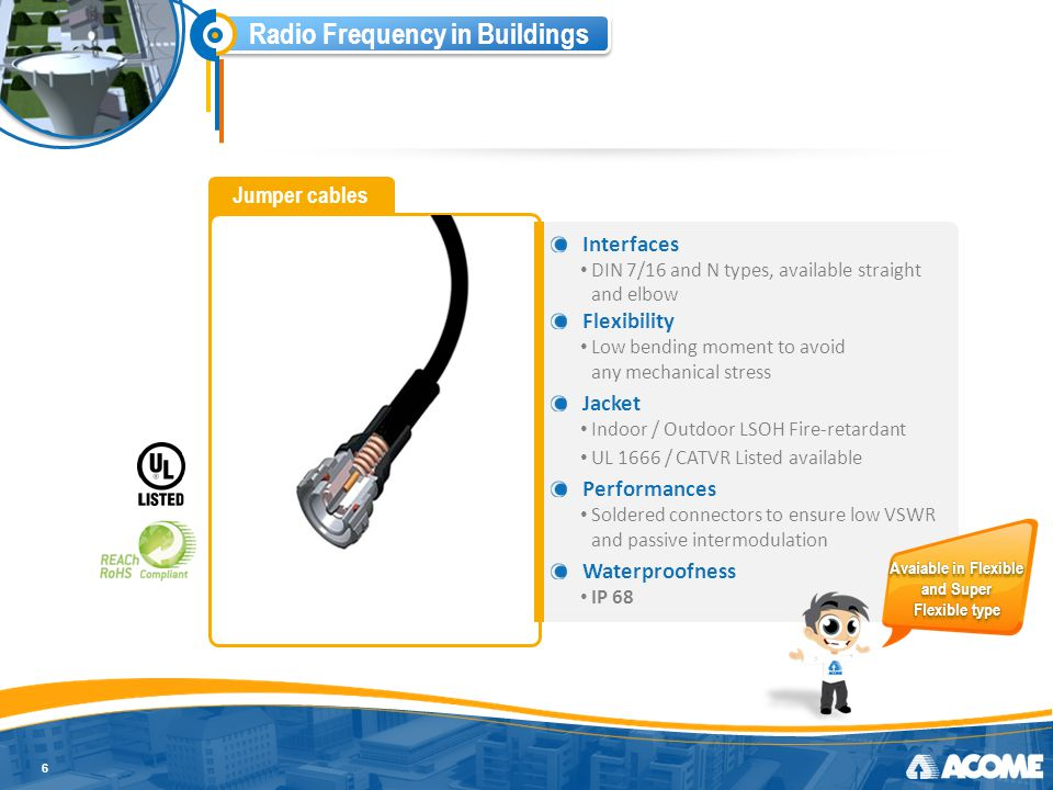 Radio Frequency in Buildings Jumper cables 6 Interfaces DIN 7/16 and N types, available straight and elbow Flexibility Low bending moment to avoid any mechanical stress Jacket Indoor / Outdoor LSOH Fire-retardant UL 1666 / CATVR Listed available Performances Soldered connectors to ensure low VSWR and passive intermodulation Waterproofness IP 68 Avaiable in Flexible and Super Flexible type