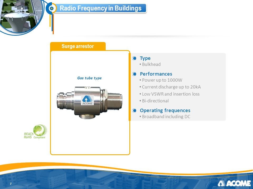 Radio Frequency in Buildings Dummy load 8 Type N interfaces Wide frequency range DC to 4 GHz Performances Low VSWR