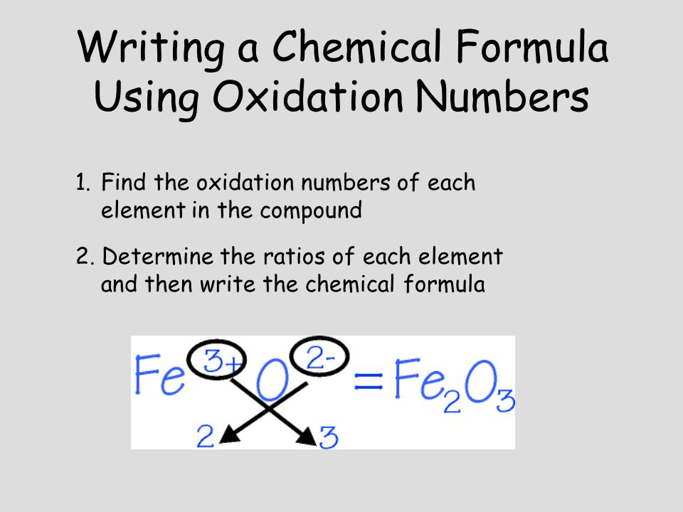 Writing a Chemical Formula Using Oxidation Numbers 1.Find the oxidation numbers of each element in the compound 2. Determine the ratios of each elemen