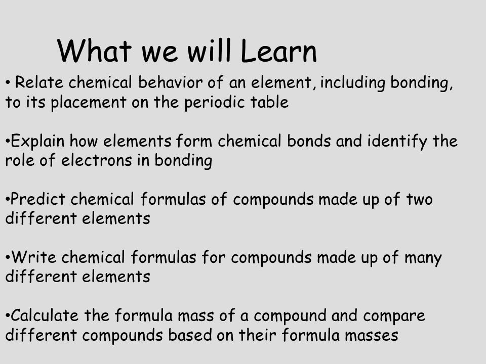 What we will Learn Relate chemical behavior of an element, including bonding, to its placement on the periodic table Explain how elements form chemica