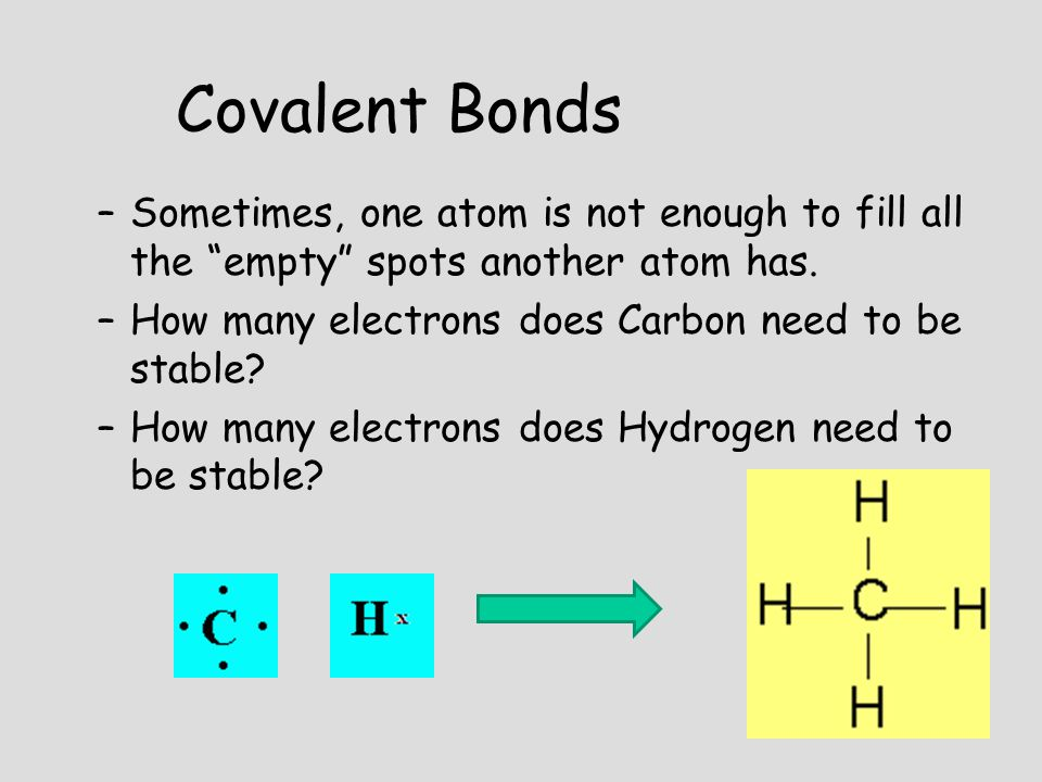 "–S–Sometimes, one atom is not enough to fill all the ""empty"" spots another atom has. –H–How many electrons does Carbon need to be stable? –H–How many"
