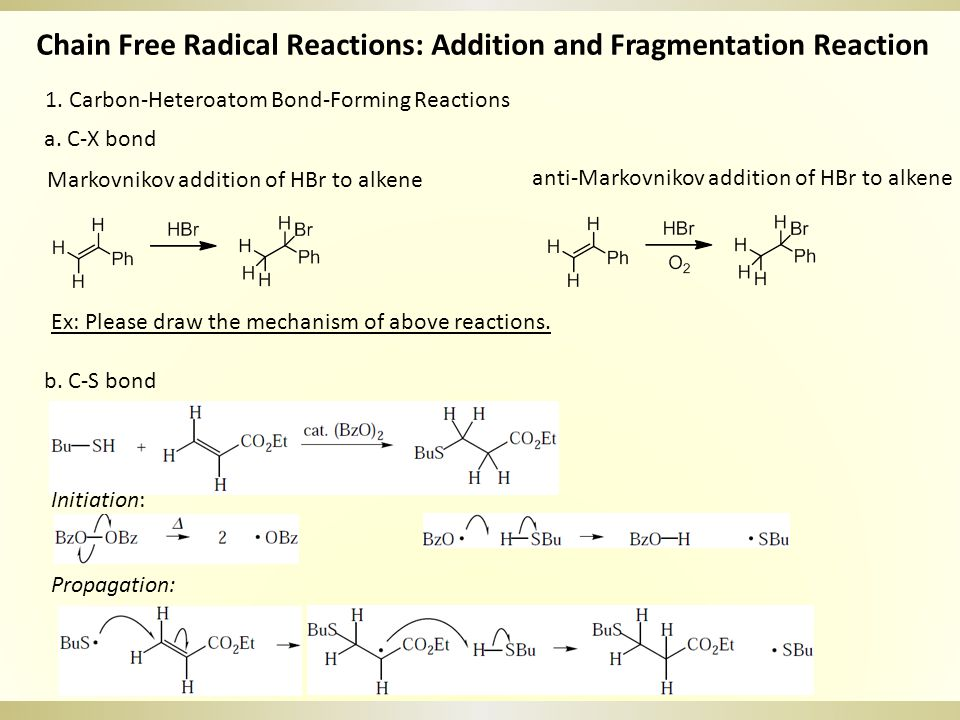 Chain Free Radical Reactions: Addition and Fragmentation Reaction 1. Carbon-Heteroatom Bond-Forming Reactions Markovnikov addition of HBr to alkene an