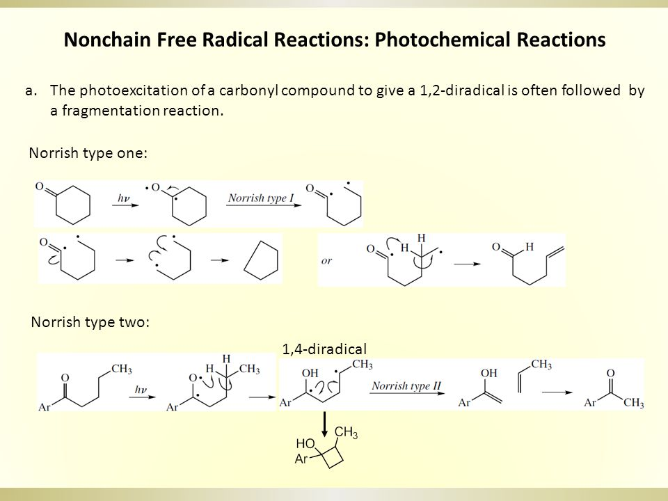 Nonchain Free Radical Reactions: Photochemical Reactions a.The photoexcitation of a carbonyl compound to give a 1,2-diradical is often followed by a fragmentation reaction.