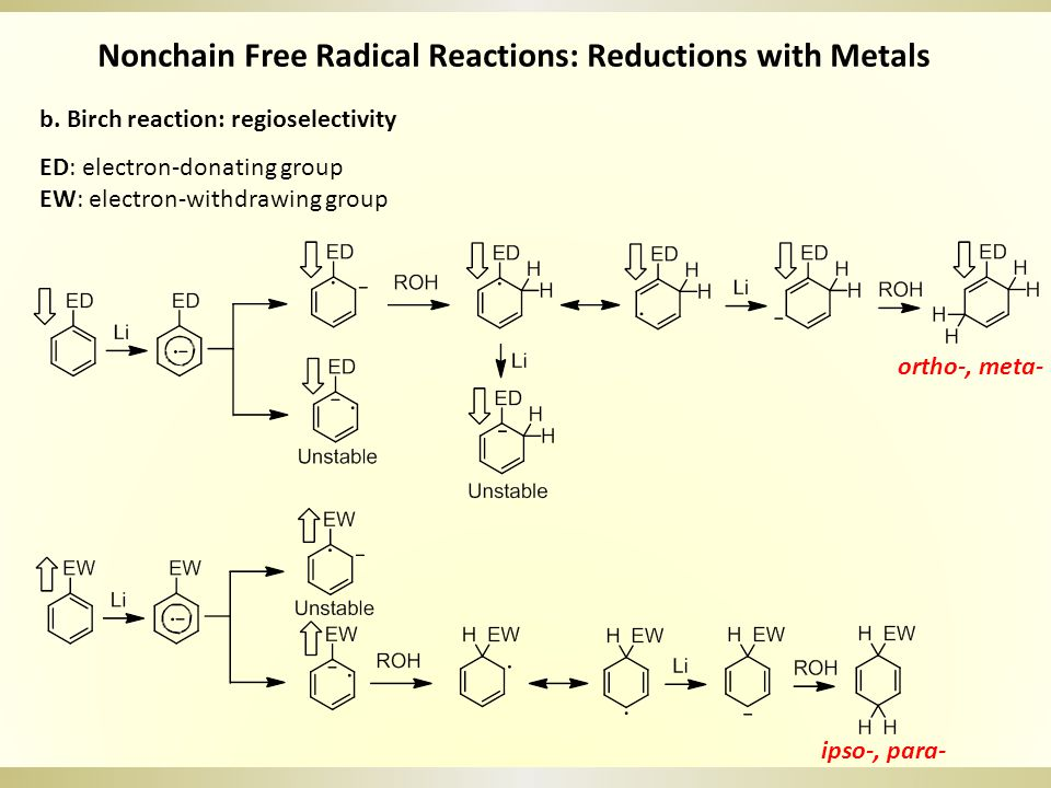 Nonchain Free Radical Reactions: Reductions with Metals b. Birch reaction: regioselectivity ED: electron-donating group EW: electron-withdrawing group