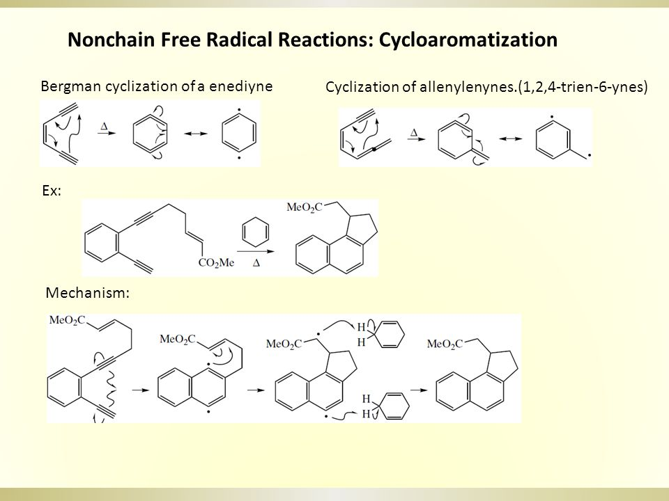 Nonchain Free Radical Reactions: Cycloaromatization Bergman cyclization of a enediyne Cyclization of allenylenynes.(1,2,4-trien-6-ynes) Ex: Mechanism: