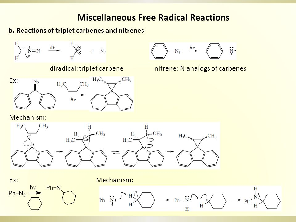 Miscellaneous Free Radical Reactions diradical: triplet carbenenitrene: N analogs of carbenes b. Reactions of triplet carbenes and nitrenes Ex: Mechan