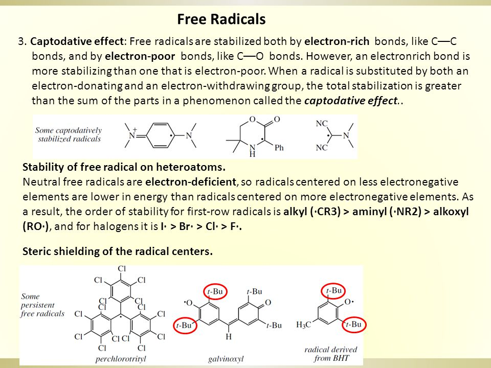 Free Radicals Generation of free radicals 1.