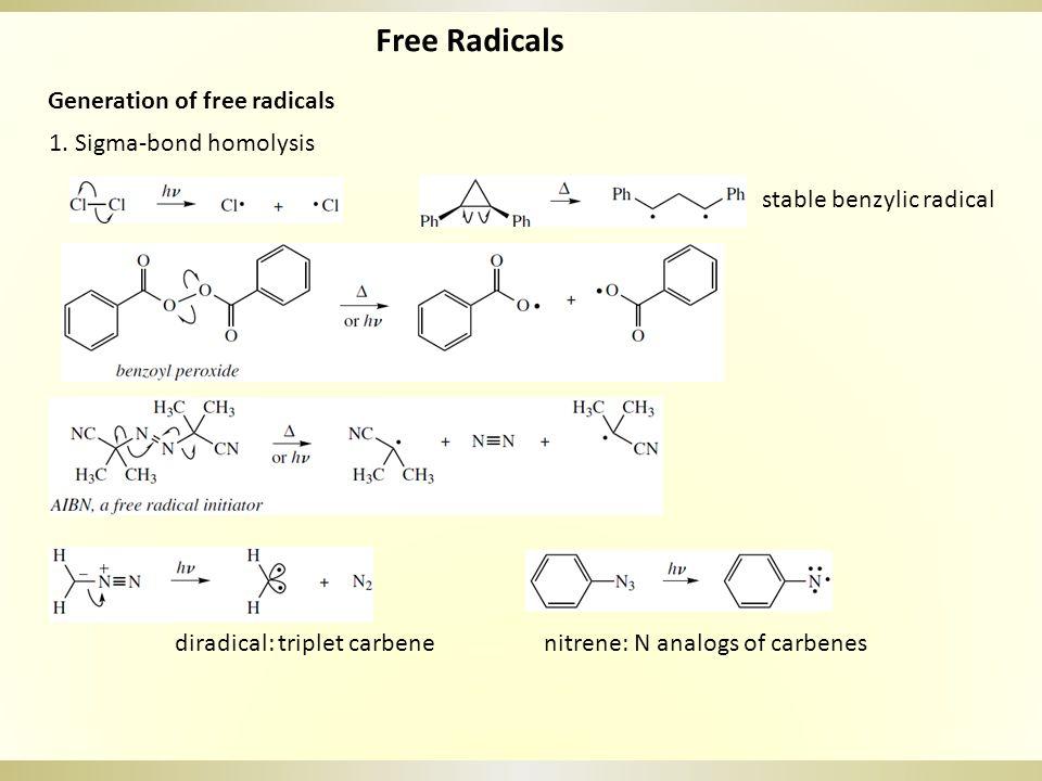 Free Radicals Generation of free radicals 1.