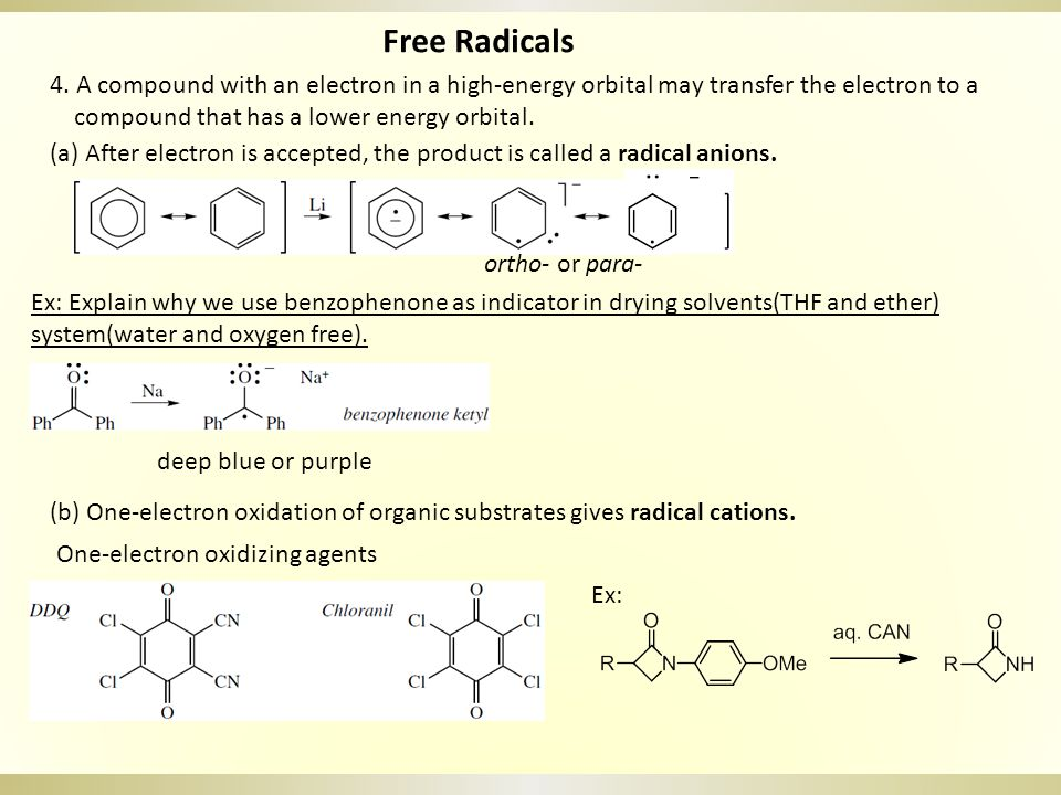 Free Radicals: Typical Reactions 1.