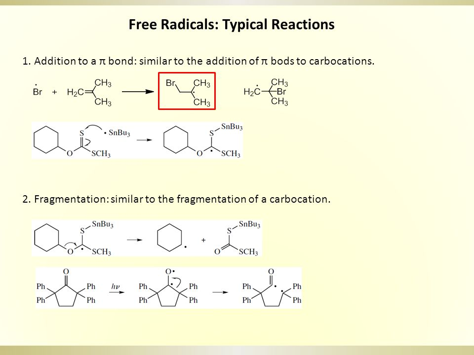 Free Radicals: Typical Reactions 3.