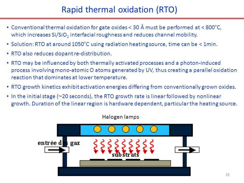 Rapid thermal oxidation (RTO) Conventional thermal oxidation for gate oxides < 30 Å must be performed at < 800°C, which increases Si/SiO 2 interfacial