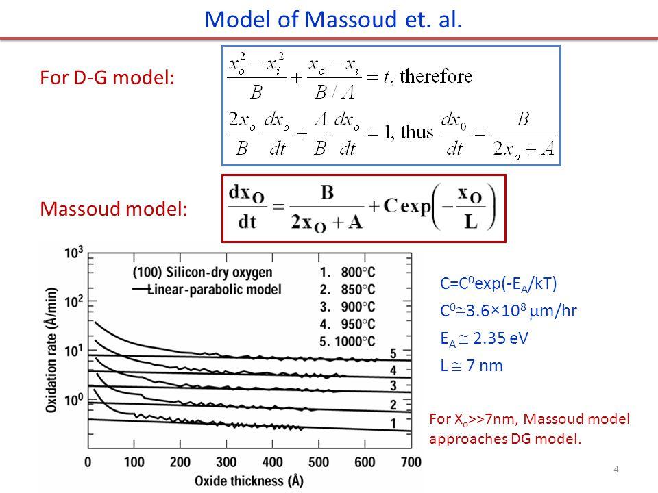 C=C 0 exp(-E A /kT) C 0  3.6×10 8  m/hr E A  2.35 eV L  7 nm Model of Massoud et. al. 4 For D-G model: Massoud model: For X o >>7nm, Massoud model