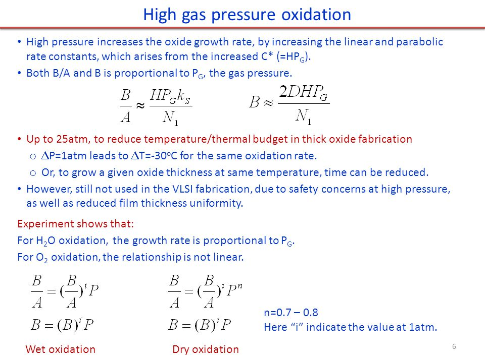 High pressure increases the oxide growth rate, by increasing the linear and parabolic rate constants, which arises from the increased C* (=HP G ). Bot