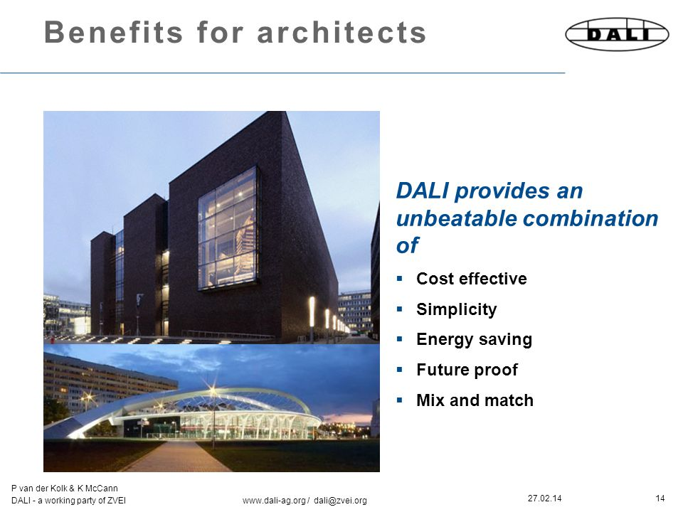 14 P van der Kolk & K McCann DALI - a working party of ZVEI www.dali-ag.org / dali@zvei.org 27.02.14 Benefits for architects DALI provides an unbeatab