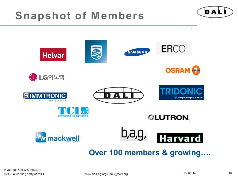 18 P van der Kolk & K McCann DALI - a working party of ZVEI www.dali-ag.org / dali@zvei.org 27.02.14 Snapshot of Members Over 100 members & growing….