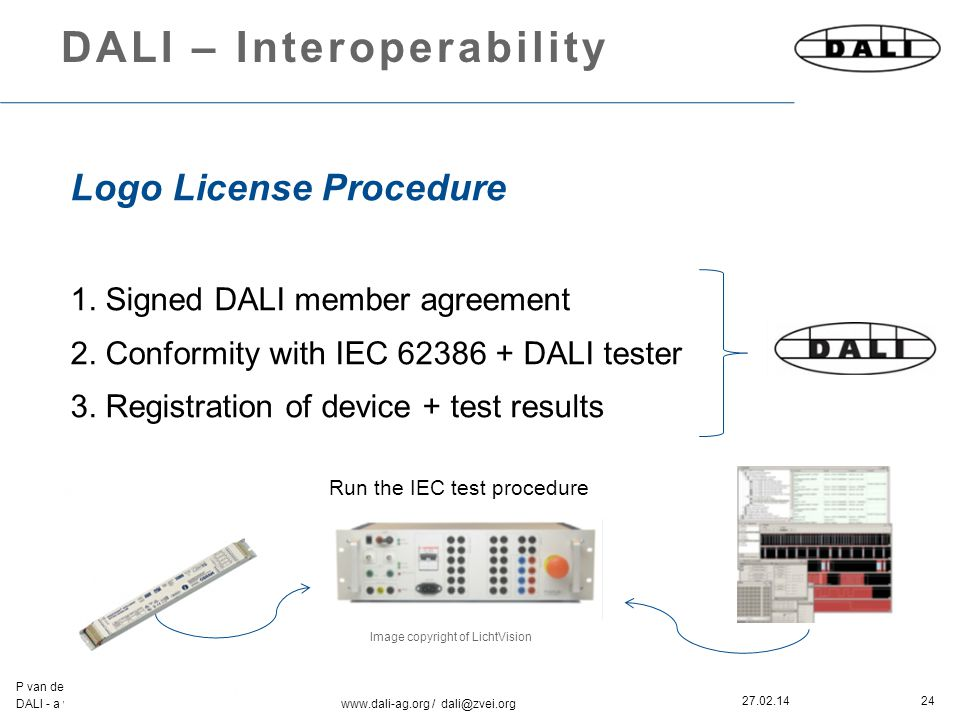 24 P van der Kolk & K McCann DALI - a working party of ZVEI www.dali-ag.org / dali@zvei.org 27.02.14 DALI – Interoperability Logo License Procedure 1.