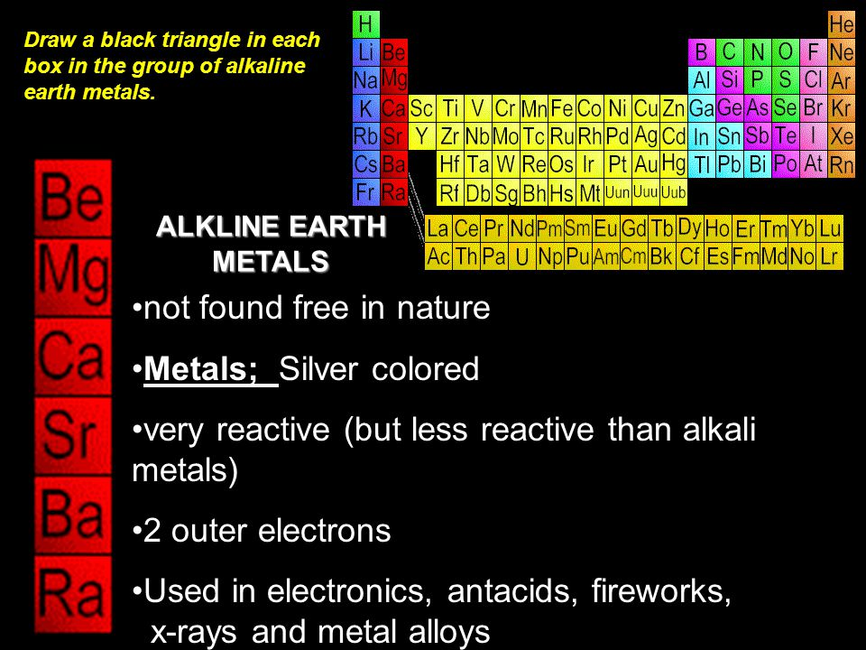 not found free in nature Metals; Silver colored very reactive (but less reactive than alkali metals) 2 outer electrons Used in electronics, antacids, fireworks, x-rays and metal alloys ALKLINE EARTH METALS Draw a black triangle in each box in the group of alkaline earth metals.