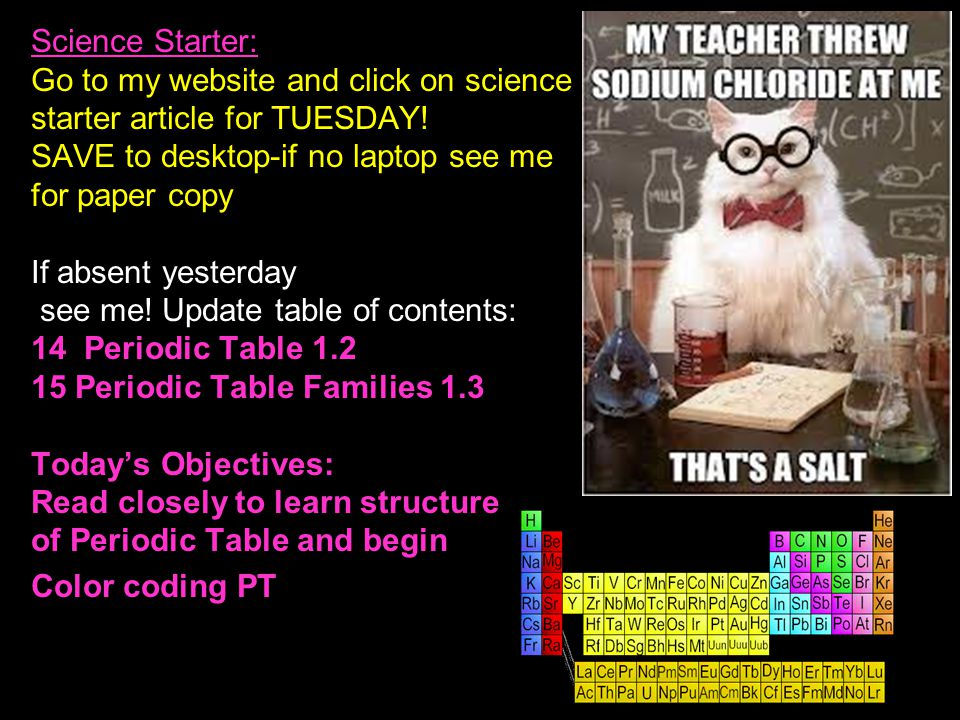 Science Starter: Go to my website and click on science starter article for TUESDAY.