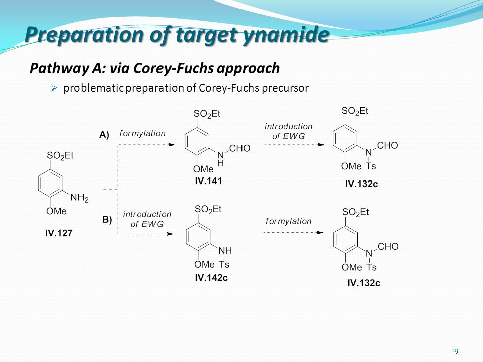 Preparation of target ynamide Pathway A: via Corey-Fuchs approach  problematic preparation of Corey-Fuchs precursor 19