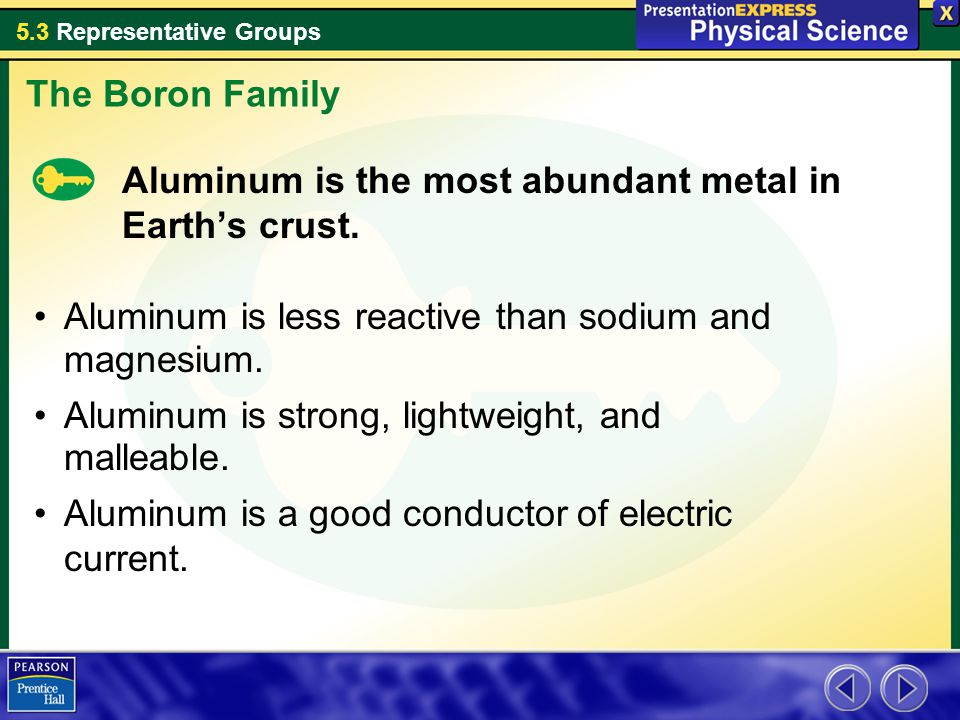 5.3 Representative Groups Aluminum is the most abundant metal in Earth's crust. The Boron Family Aluminum is less reactive than sodium and magnesium.