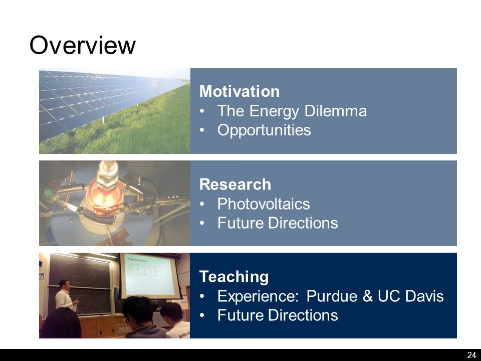 Overview 24 Motivation The Energy Dilemma Opportunities Research Photovoltaics Future Directions Teaching Experience: Purdue & UC Davis Future Directions