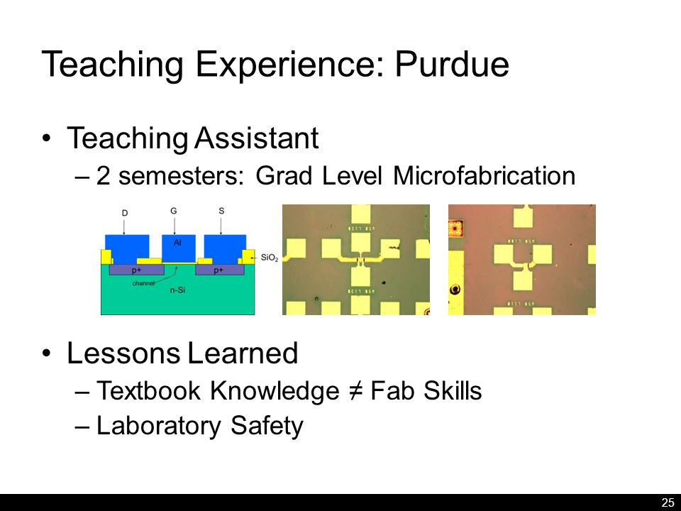 Teaching Experience: Purdue Teaching Assistant –2 semesters: Grad Level Microfabrication Lessons Learned –Textbook Knowledge ≠ Fab Skills –Laboratory Safety 25