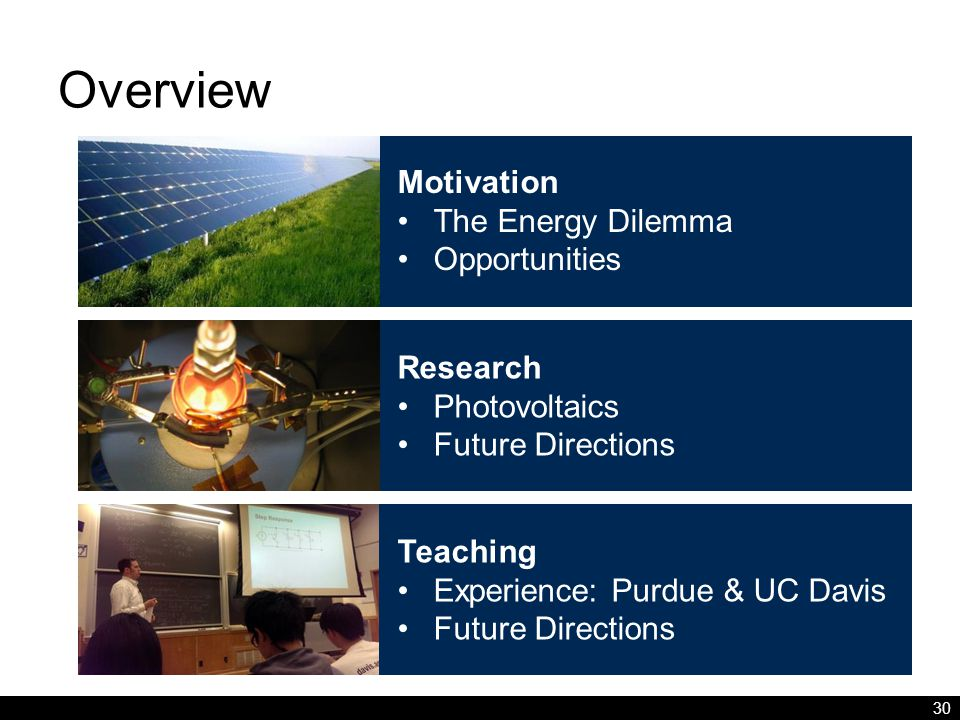 Overview 30 Motivation The Energy Dilemma Opportunities Research Photovoltaics Future Directions Teaching Experience: Purdue & UC Davis Future Directions