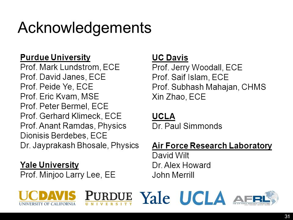 Acknowledgements 31 Purdue University Prof. Mark Lundstrom, ECE Prof.