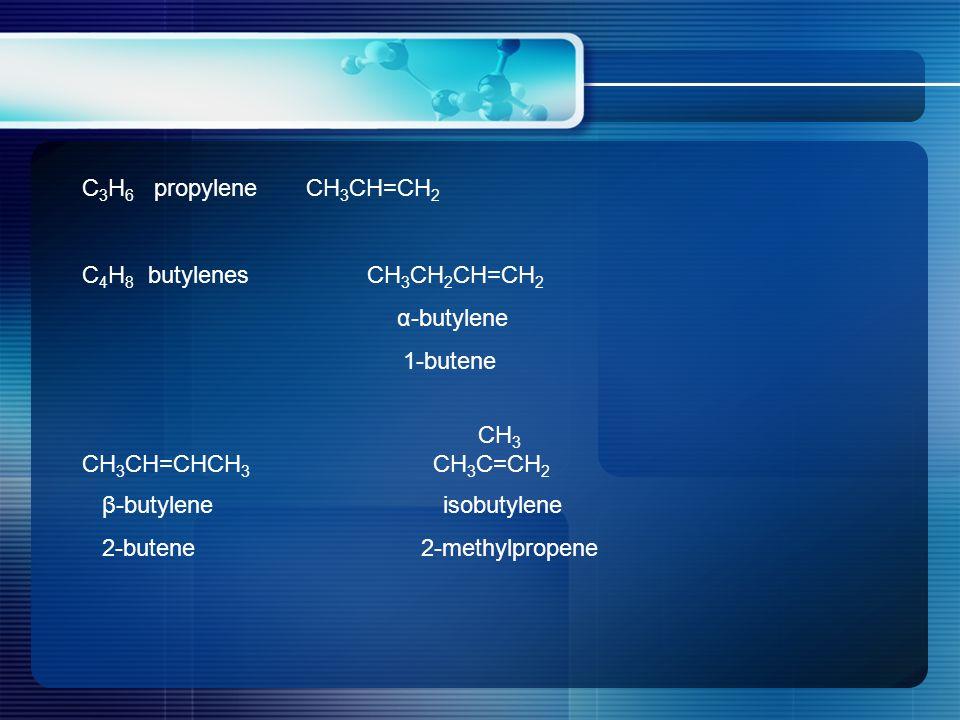 C 3 H 6 propylene CH 3 CH=CH 2 C 4 H 8 butylenes CH 3 CH 2 CH=CH 2 α-butylene 1-butene CH 3 CH 3 CH=CHCH 3 CH 3 C=CH 2 β-butylene isobutylene 2-butene