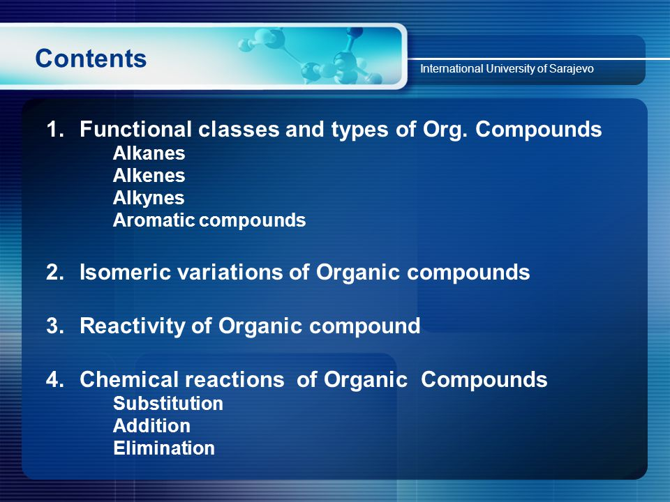 Contents International University of Sarajevo 1.Functional classes and types of Org.
