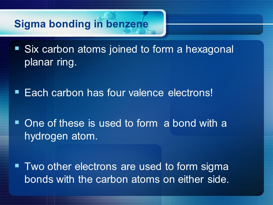 Sigma bonding in benzene  Six carbon atoms joined to form a hexagonal planar ring.