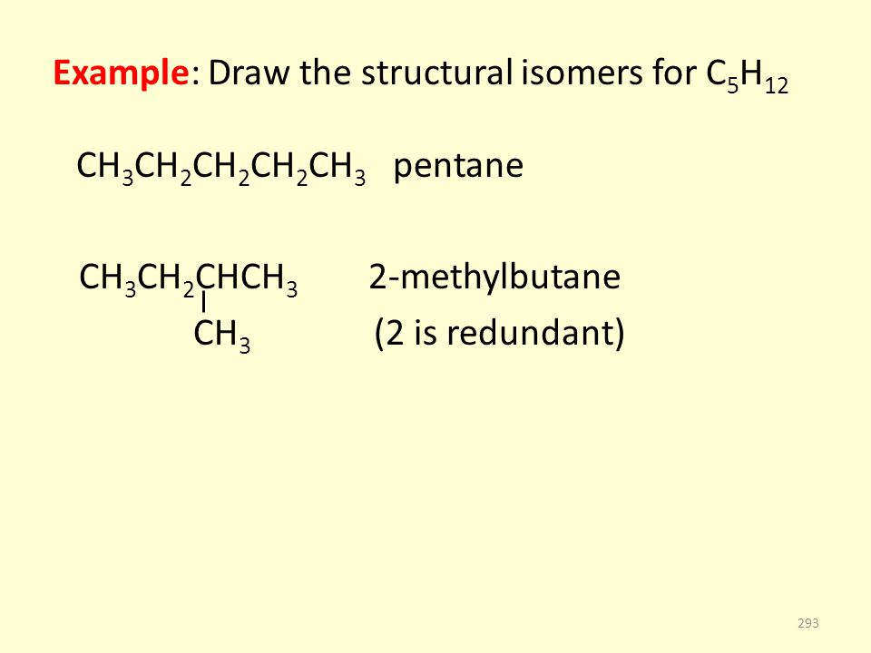 Example: Draw the structural isomers for C 5 H 12 CH 3 CH 2 CH 2 CH 2 CH 3 pentane CH 3 CH 2 CHCH 3 2-methylbutane CH 3 (2 is redundant) 293