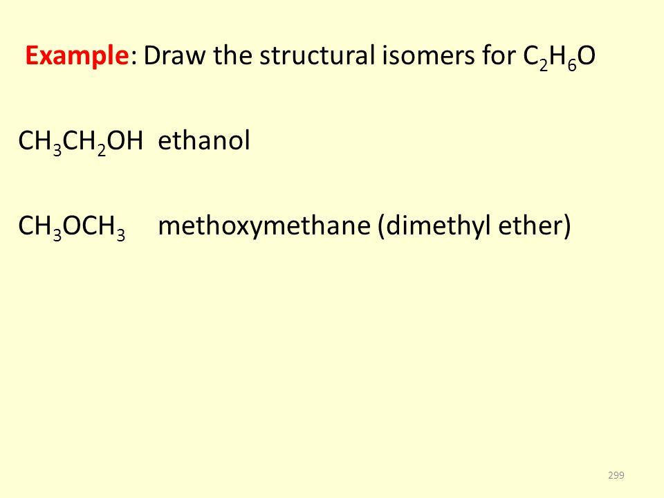 Example: Draw the structural isomers for C 2 H 6 O CH 3 CH 2 OH ethanol CH 3 OCH 3 methoxymethane (dimethyl ether) 299