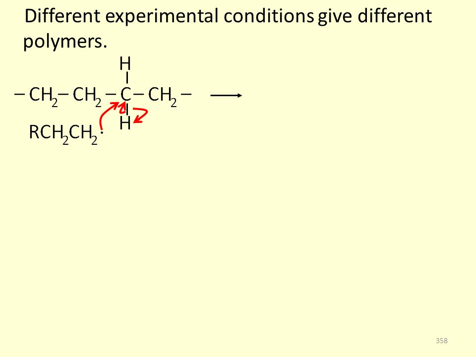 Different experimental conditions give different polymers. 358