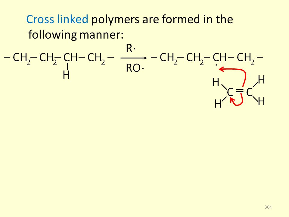 Cross linked polymers are formed in the following manner: 364