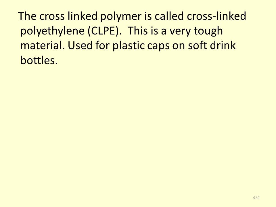 The cross linked polymer is called cross-linked polyethylene (CLPE).