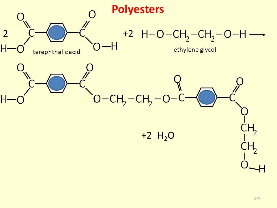 Polyesters 379 terephthalic acid ethylene glycol +22 +2 H 2 O