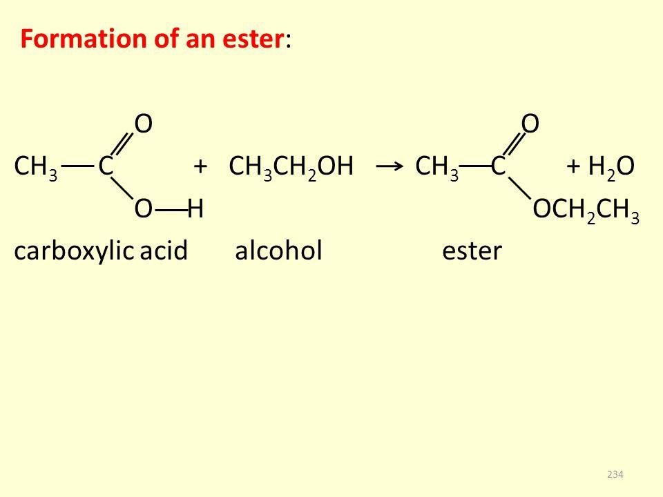 Formation of an ester: O O CH 3 C + CH 3 CH 2 OH CH 3 C + H 2 O O H OCH 2 CH 3 carboxylic acid alcohol ester 234