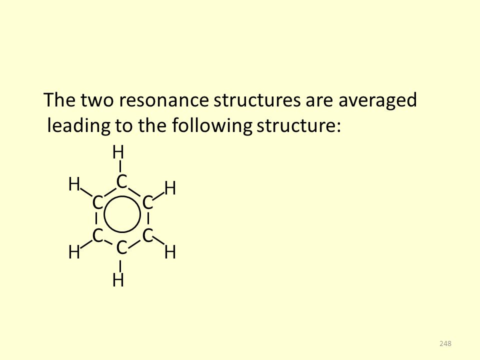 The two resonance structures are averaged leading to the following structure: C C C C C C 248