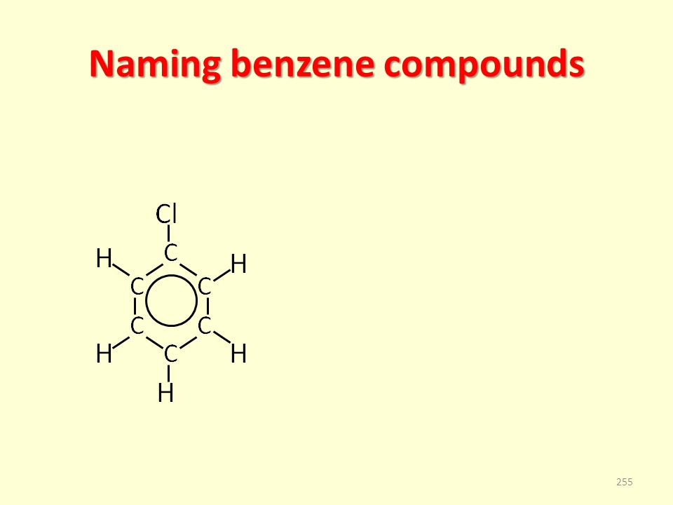 Naming benzene compounds 255