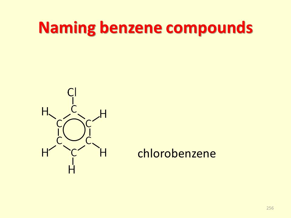 Naming benzene compounds chlorobenzene 256