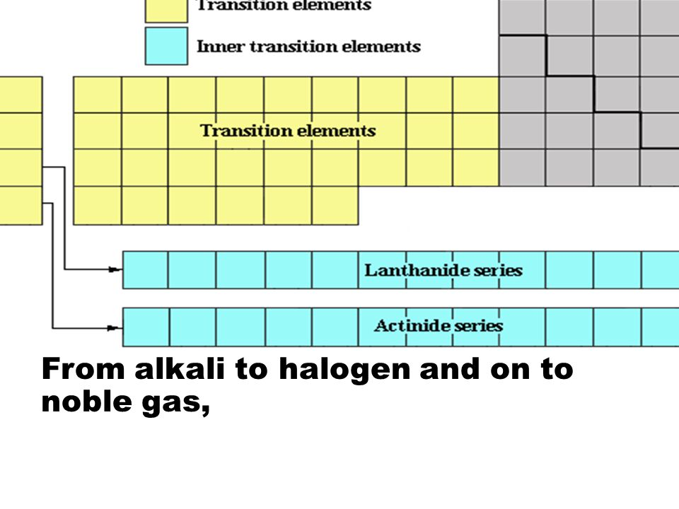 From alkali to halogen and on to noble gas,