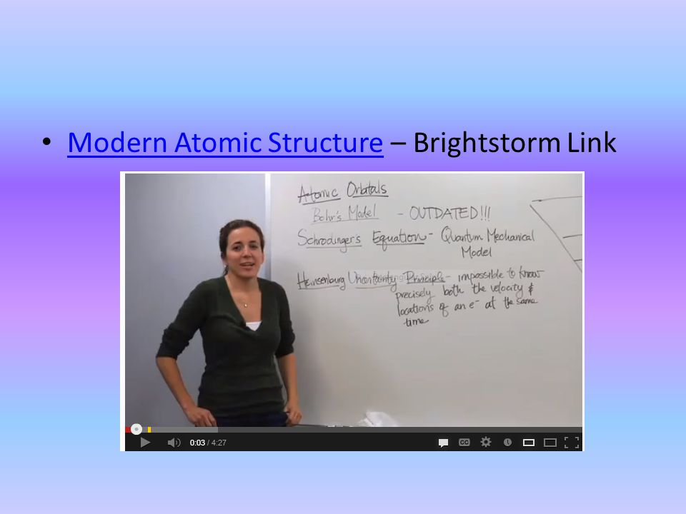 Modern Atomic Structure – Brightstorm Link Modern Atomic Structure