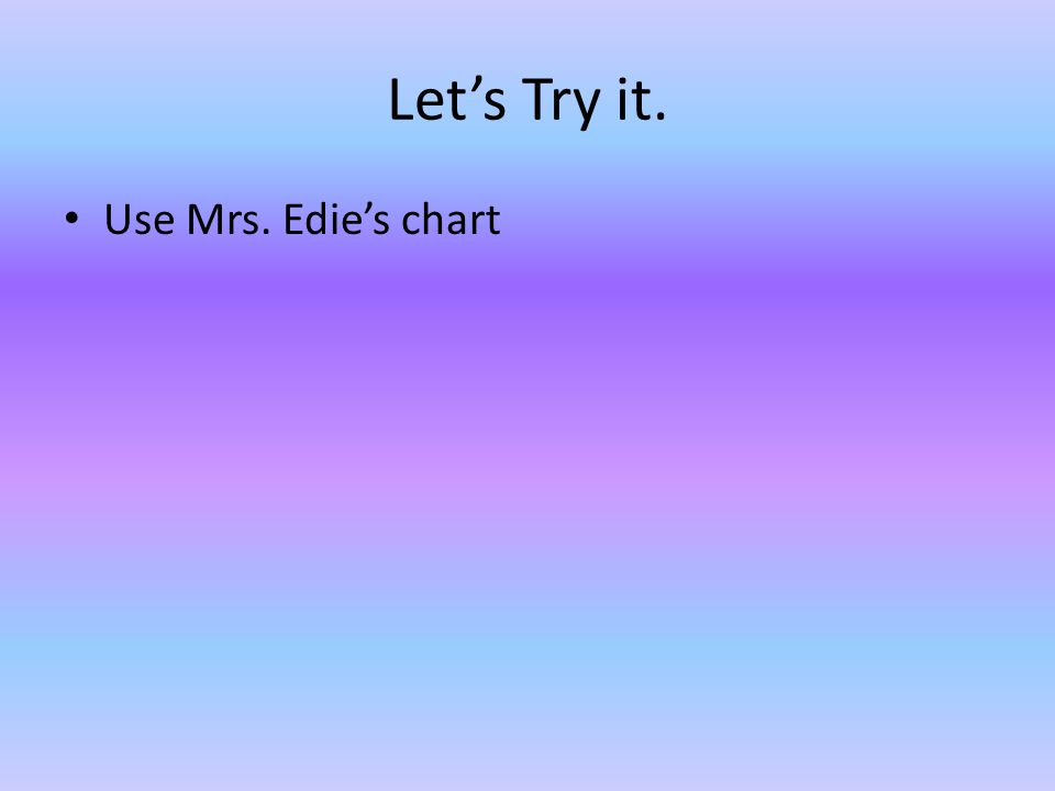 Let's Try it. Use Mrs. Edie's chart