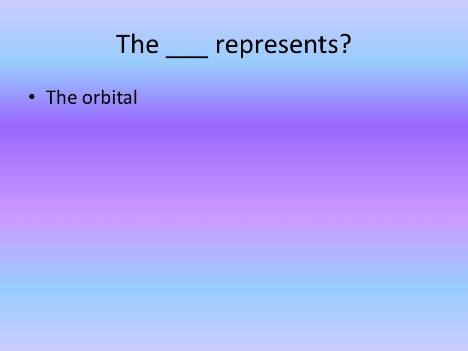 The ___ represents? The orbital