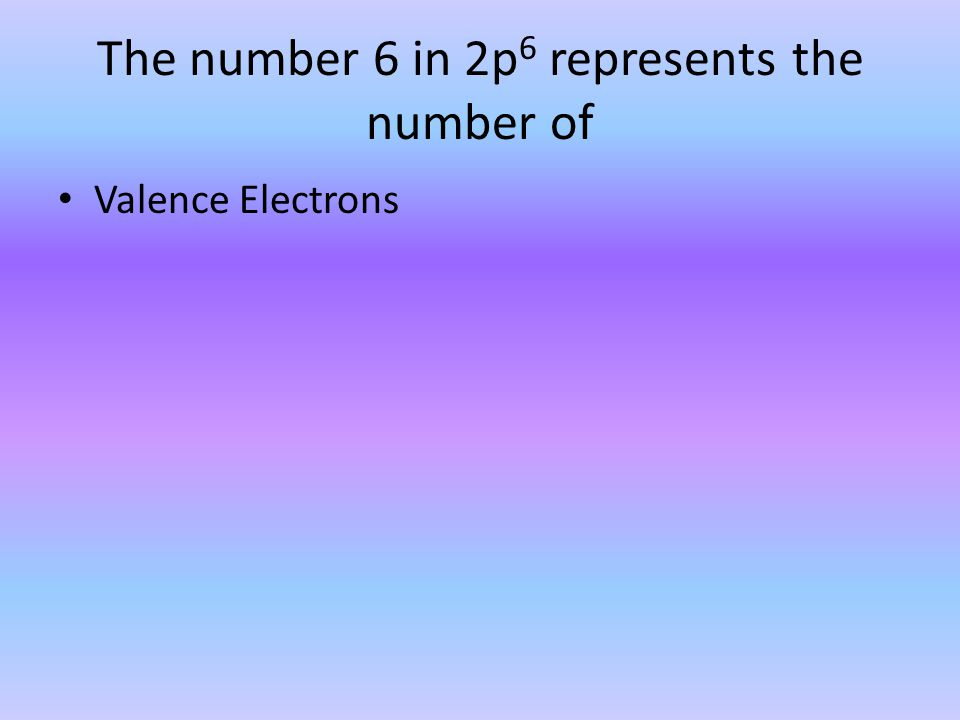 The number 6 in 2p 6 represents the number of Valence Electrons